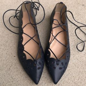 NEW J. Crew Leather Eyelet Lace Up Flats Shoes